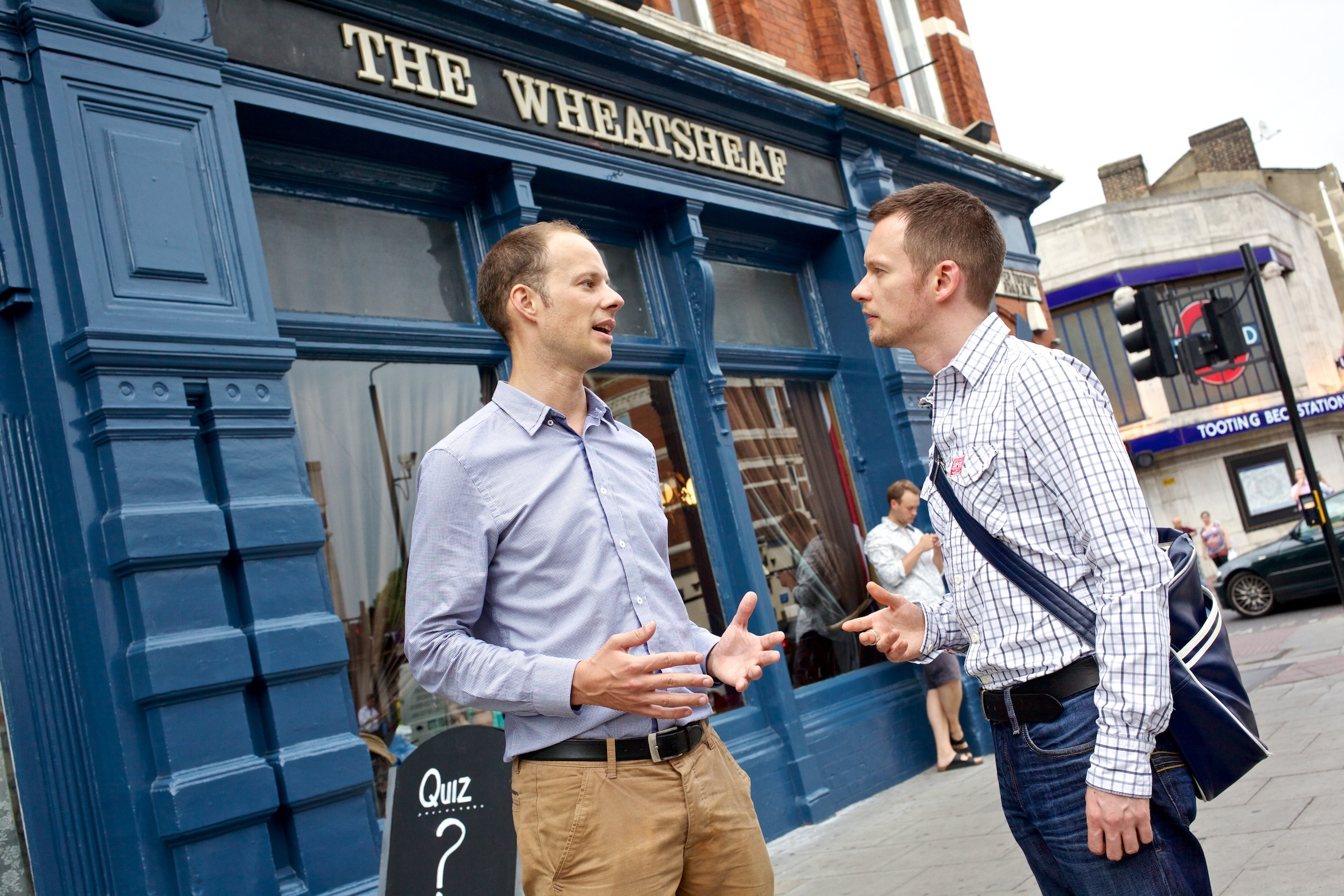Dan Watkins discusses the Wheatsheaf's future with Tooting Councillor