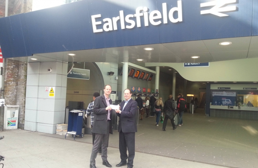 Dan and Stephen Hammond at Earlsfield Station