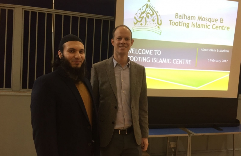 Dan and Tooting Islamic Centre Imam at 'VisitMyMosque day'