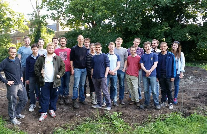 Dan's environmental group digging a pond at new community space on Dobbin's Fields