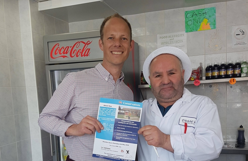 Dan with Greenhill business, Ossies Fish Bar