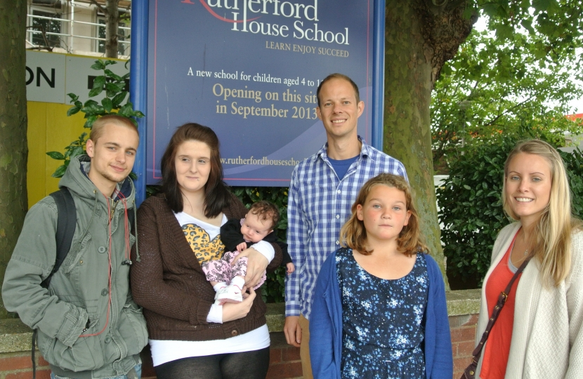 Dan with local residents outside Rutherford School