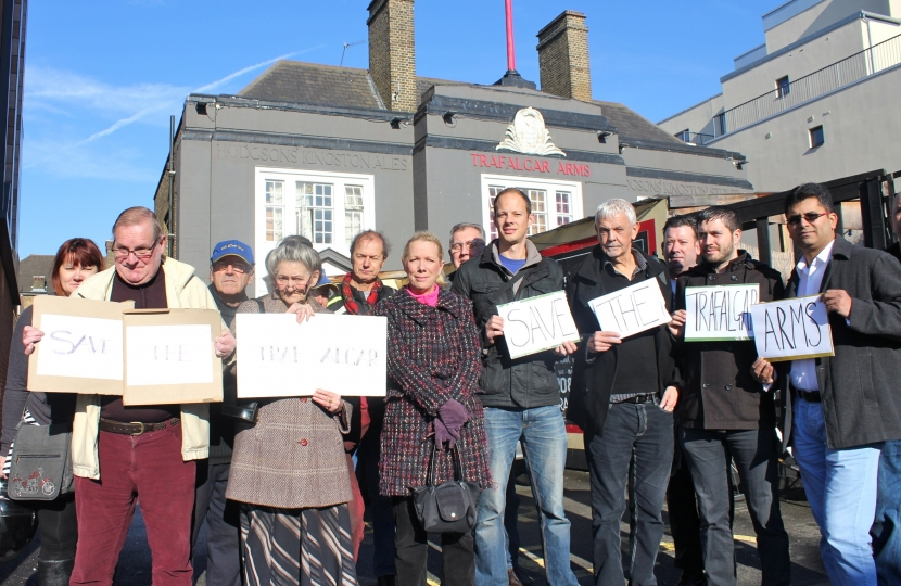 Campaigners protest against the pub's closure in 2013