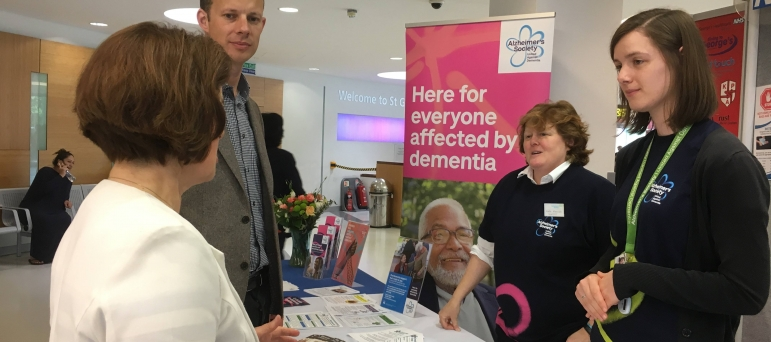 Dan discusses Dementia Awareness Week at St George's Hospital with Minister Jane Ellison MP